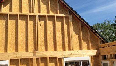 façade d'une maison à ossature bois, betschdorf, bas-rhin, alsace