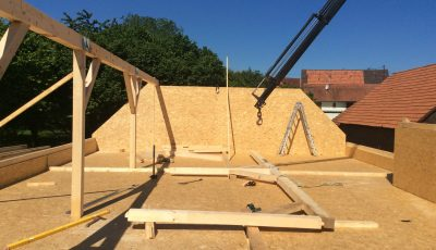 Réalisation de la toiture d'un chantier à ossature bois, Betschdorf, Bas-rhin, Alsace